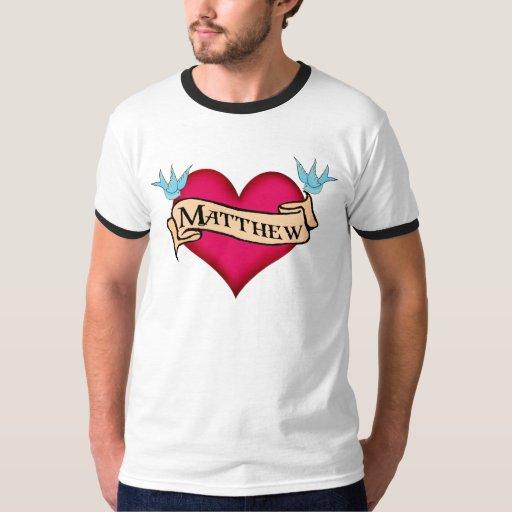 Matthew - regalos de encargo del tatuaje del camisas