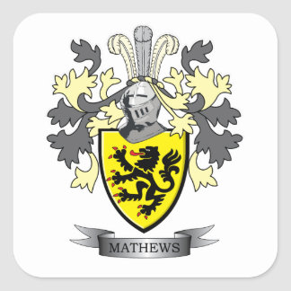 Matthews Family Crest Coat of Arms Square Sticker