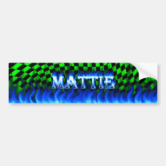 Mattie blue fire and flames bumper sticker design. car bumper sticker