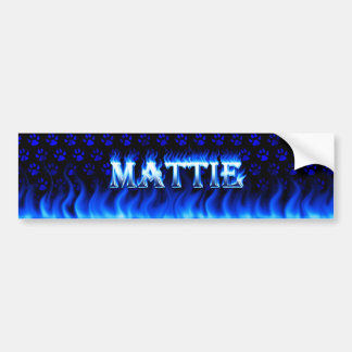 Mattie blue fire and flames bumper sticker design.