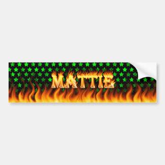 Mattie real fire and flames bumper sticker design