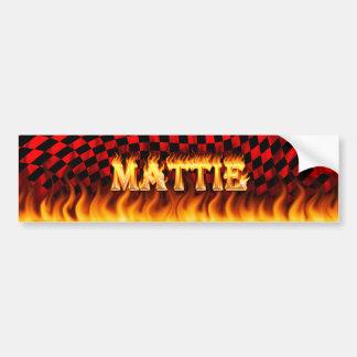 Mattie real fire and flames bumper sticker design car bumper sticker