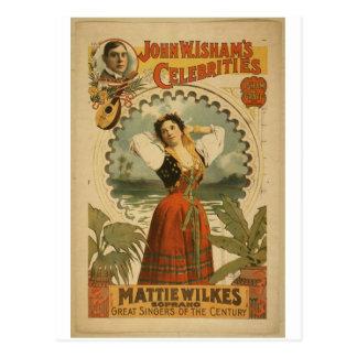 Mattie Wilkes Soprano Vintage Theater Post Cards