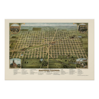Mattoon, IL Panoramic Map - 1884 Poster