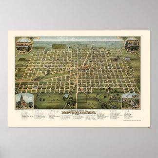 Mattoon, mapa panorámico de IL - 1884 Póster