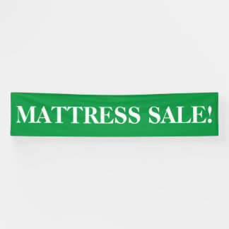 Mattress sale simple green white banner sign