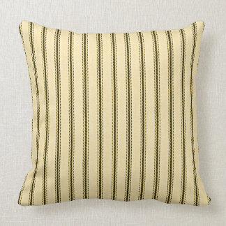 """Mattress Ticking"" Heavy-Cream-Black_M-L Throw Pillow"