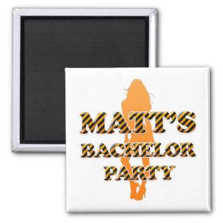 Matt's Bachelor Party 2 Inch Square Magnet