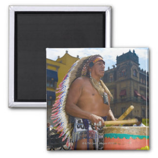 Mature man playing drums with drumstick, Zocalo, 2 Inch Square Magnet