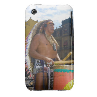 Mature man playing drums with drumstick, Zocalo, iPhone 3 Cover