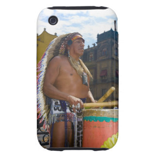 Mature man playing drums with drumstick, Zocalo, Tough iPhone 3 Case