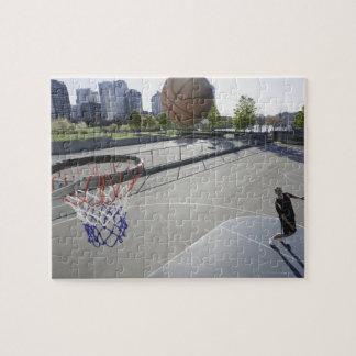 mature man shooting basketball jigsaw puzzle