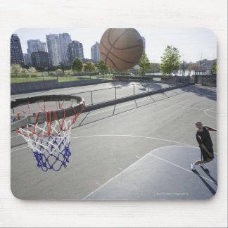 mature man shooting basketball mouse pad