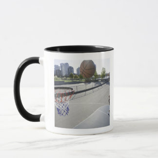 mature man shooting basketball mug