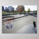 mature man shooting basketball poster