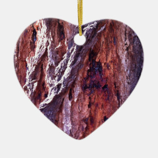 Mature Redwood gum tree bark in summer Double-Sided Heart Ceramic Christmas Ornament
