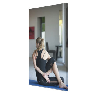 Mature woman exercising 4 gallery wrapped canvas