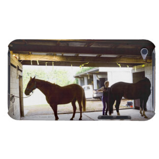 Mature Woman looking after horse iPod Touch Case-Mate Case