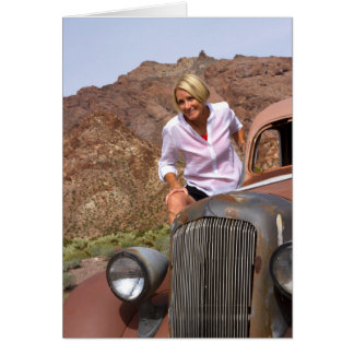 Mature Woman on Antique Car in the Desert Card