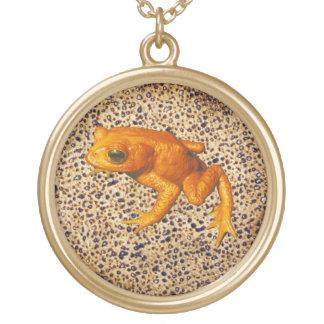 Matzah & Frog Round Pendant Necklace