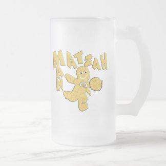 Matzah Man Frosted Glass Beer Mug