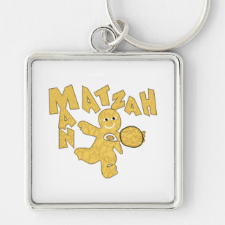 Matzah Man Silver-Colored Square Keychain