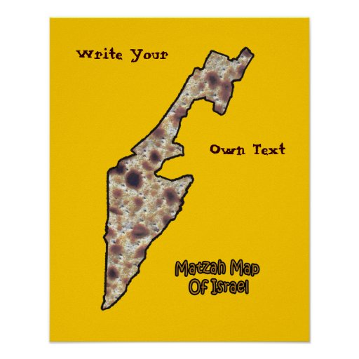 Matzah Map Of Israel - Write Your Own Text Posters