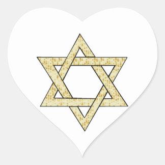 Matzoh Star of David Heart Sticker