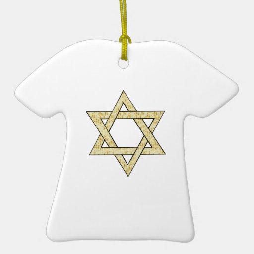 Matzoh Star of David Double-Sided T-Shirt Ceramic Christmas Ornament