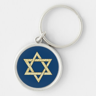 Matzoh Star of David Silver-Colored Round Keychain
