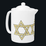 """Matzoh Star of David Teapot<br><div class=""""desc"""">Passover matzoh Star of David for the Jewish holidays is adorable for the pesach seder and a fun jewish greeting card,  home decor,  baby apparel or t-shirt for the family.</div>"""