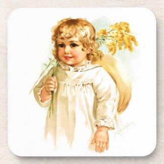 Maud Humphrey: Autumn Girl with Golden Rod Beverage Coaster