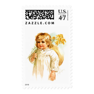 Maud Humphrey: Autumn Girl with Golden Rod Postage