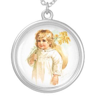 Maud Humphrey: Autumn Girl with Golden Rod Round Pendant Necklace