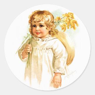 Maud Humphrey: Autumn Girl with Golden Rod Classic Round Sticker