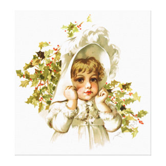 Maud Humphrey: Autumn Girl with Holly Stretched Canvas Print