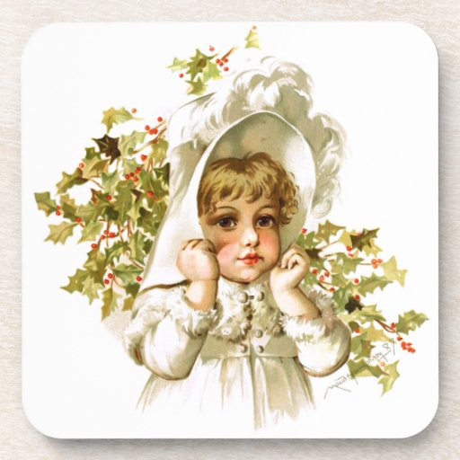 Maud Humphrey: Autumn Girl with Holly Coasters