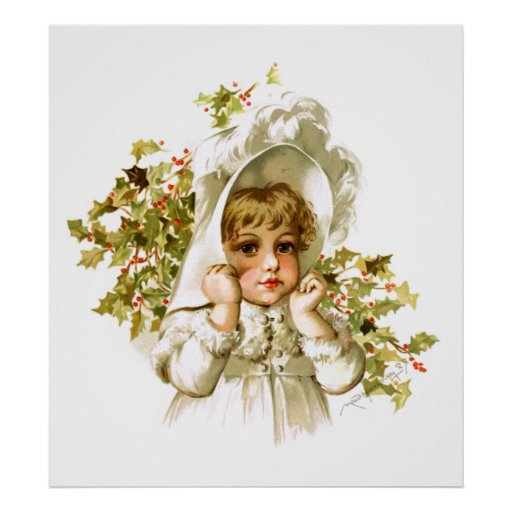 Maud Humphrey: Autumn Girl with Holly Posters