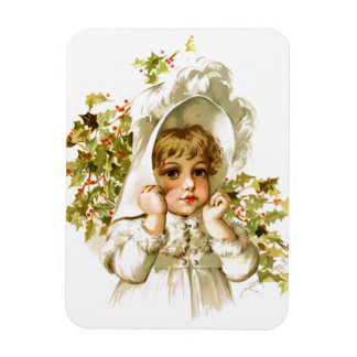 Maud Humphrey: Autumn Girl with Holly Rectangle Magnets