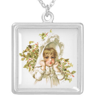 Maud Humphrey: Autumn Girl with Holly Square Pendant Necklace