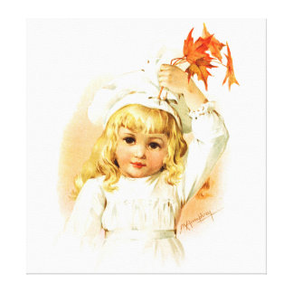 Maud Humphrey: Autumn Girl with Maple Leafs Gallery Wrap Canvas