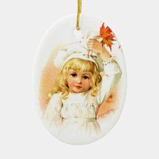 Maud Humphrey: Autumn Girl with Maple Leafs Ceramic Ornament