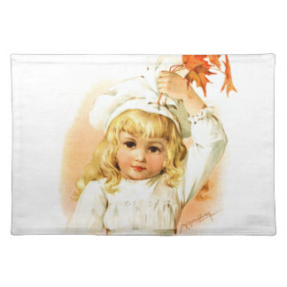 Maud Humphrey: Autumn Girl with Maple Leafs Cloth Placemat