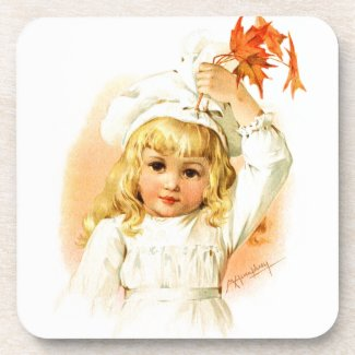 Maud Humphrey: Autumn Girl with Maple Leafs Coasters