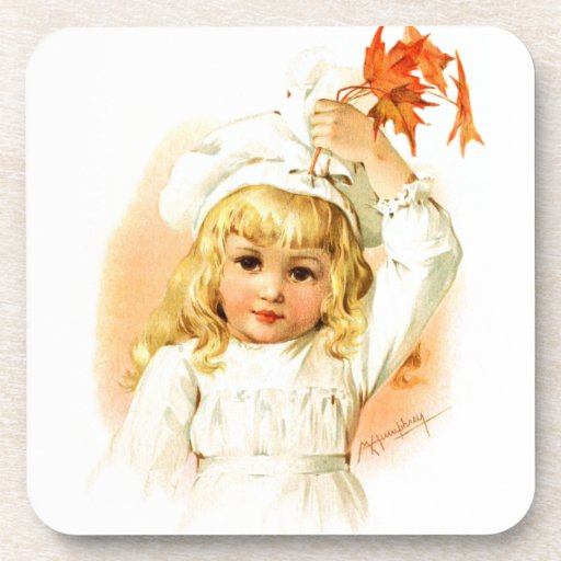 Maud Humphrey: Autumn Girl with Maple Leafs Drink Coasters