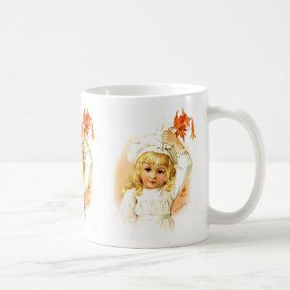 Maud Humphrey: Autumn Girl with Maple Leafs Classic White Coffee Mug