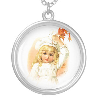 Maud Humphrey: Autumn Girl with Maple Leafs Round Pendant Necklace