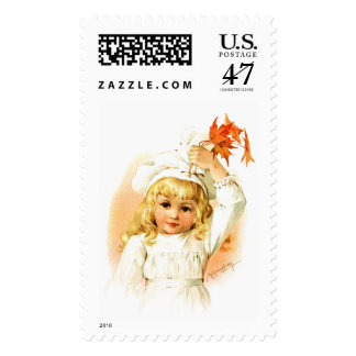 Maud Humphrey: Autumn Girl with Maple Leafs Stamp