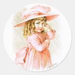 Maud Humphrey: Chica de la primavera en la lluvia Pegatinas Redondas