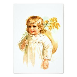 """Maud Humphrey: Chica del otoño con Rod de oro Invitación 5"""" X 7"""""""